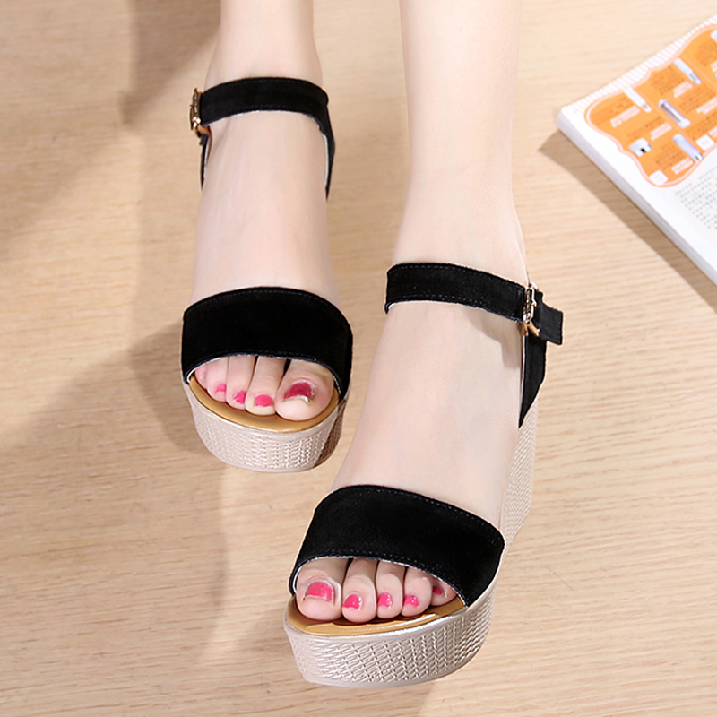 2020 summer new frosted Suede Sandals womens slope heel high-heeled muffin thick bottom waterproof platform one line sandals