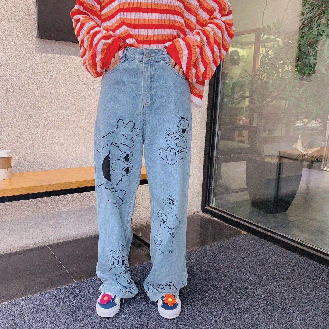 Winter 2019 new Korean East Gate ins style retro Sesame Street jeans cartoon print dad pants
