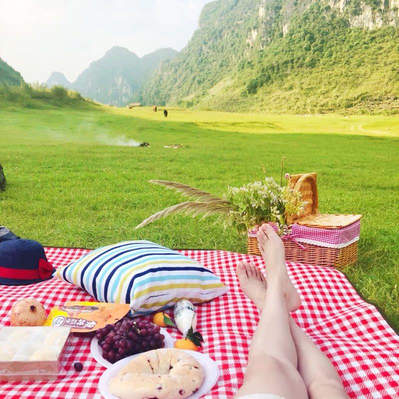 野外红白格子防潮垫子野餐垫加厚大防水可机洗帐篷露营爬行野餐布(用55元券)