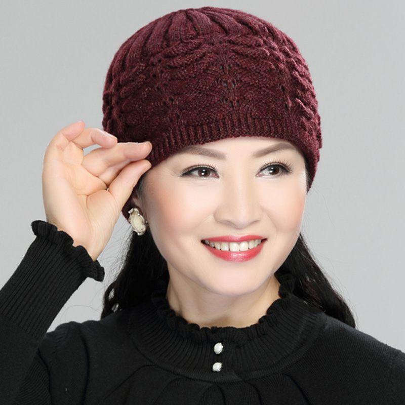 Wool knitted hat outdoor wool hat spring and autumn mother hat middle-aged and elderly hat grandmother hat warm winter hat thin