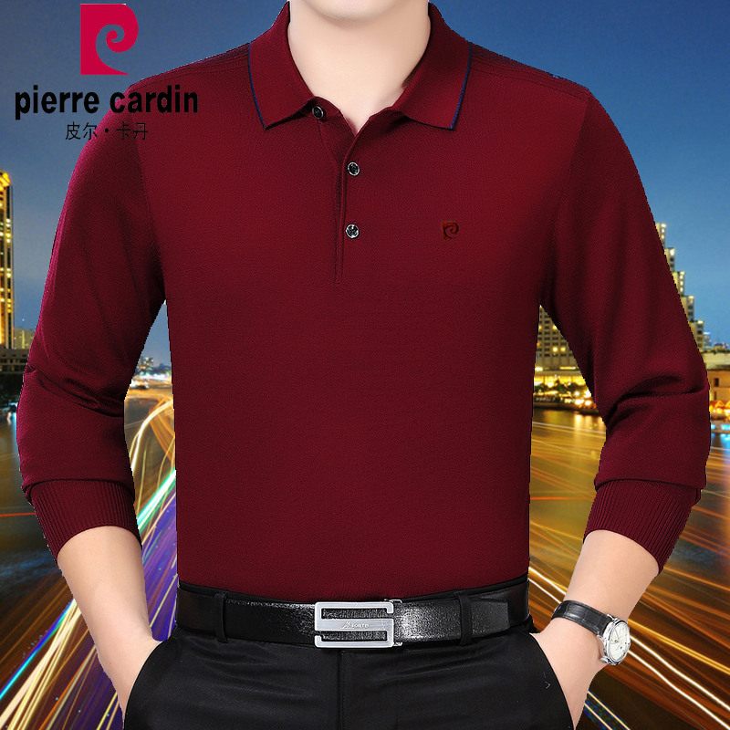 Pierre Cardin middle-aged pure wool mens long sleeve T-shirt autumn and winter middle-aged plus size cashmere sweater