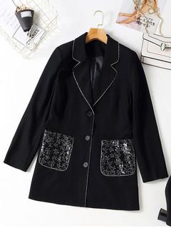 韩版大码女装时尚宽松撞色翻领秋冬新款胖MM显瘦珠片装饰西装外套