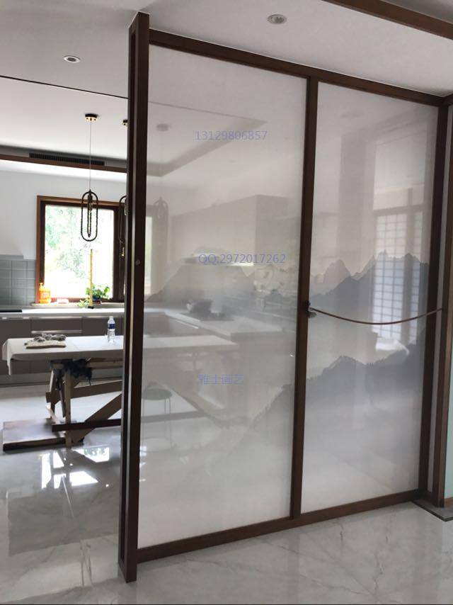 定制大型工家装修屏风隔断软帘玻璃阳光房 双面半高透明纱布艺画