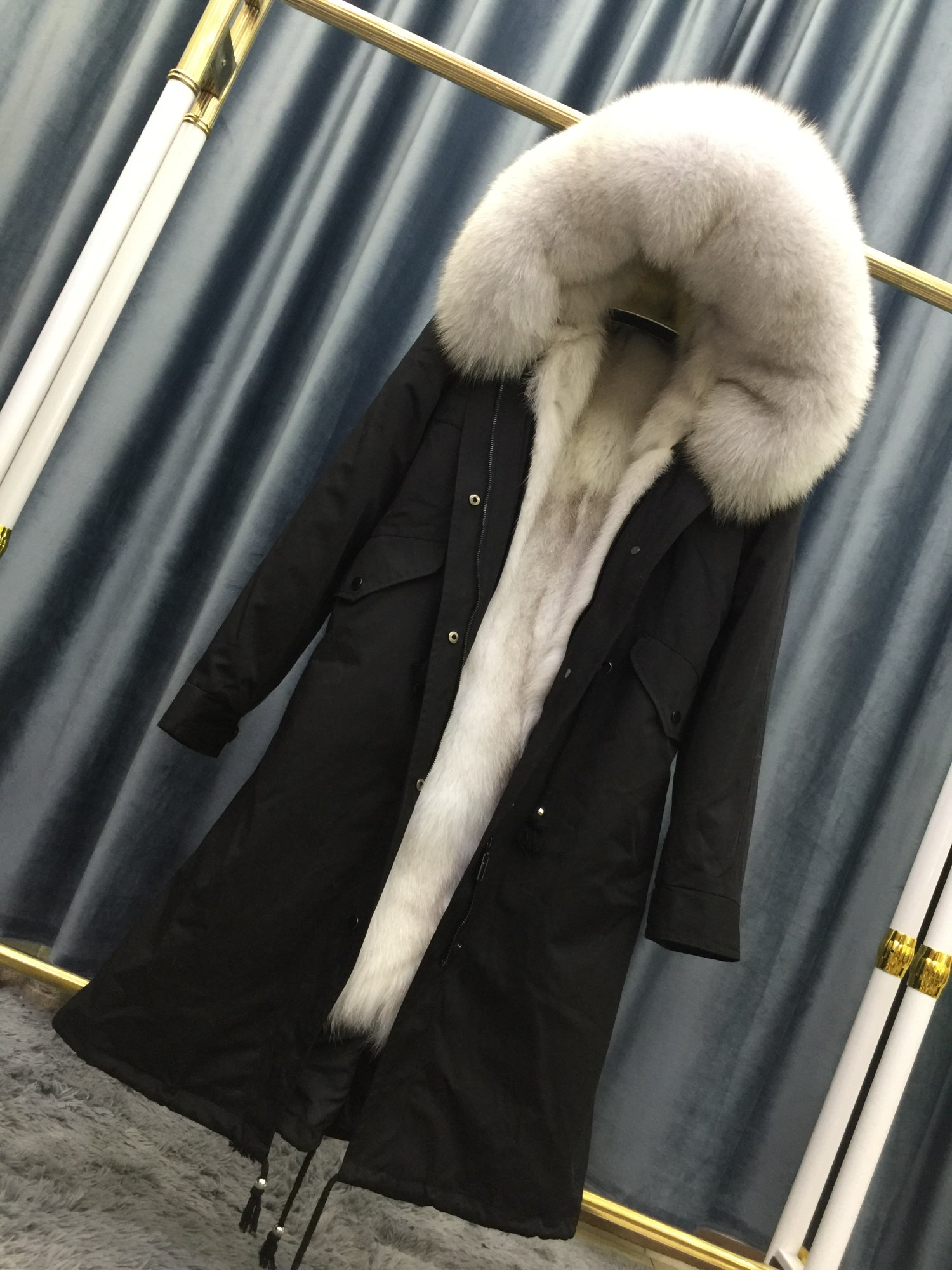 Star same fox fur grass liner coat womens middle and long style