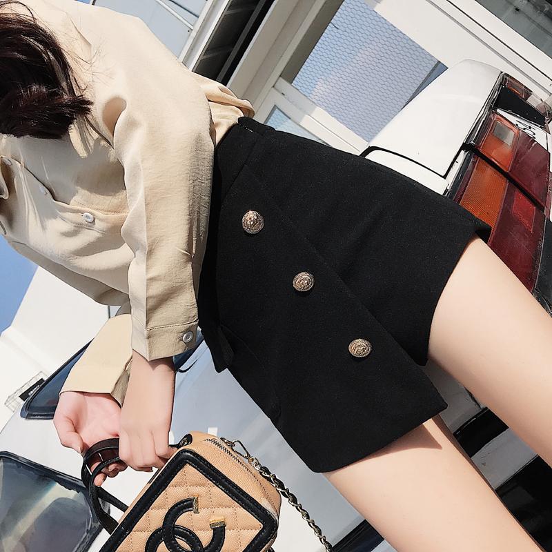 Korean version net red same irregular short skirt three button high waist autumn and winter tweed shorts skirt A-line skirt
