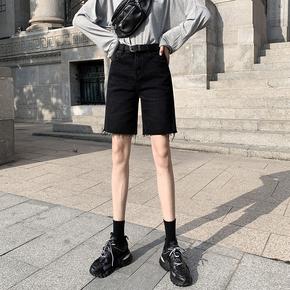 五分牛仔短裤女夏季2020年新款ins潮高腰宽松黑色港味直筒5分中裤