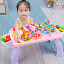 Sugar rice children cut fruit toys over home kitchen combination vegetable baby girl cutting Music cake set