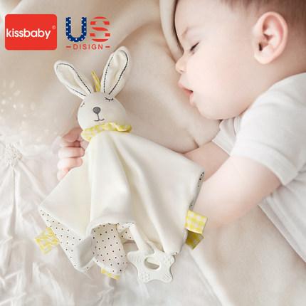 美国kissbaby婴儿安抚巾可入口宝宝安抚玩偶0-1岁睡眠手偶玩具
