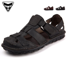 Summer men's sandals, slippers Breathable leather men Baotou sandals Wading shoes A6b6XWAe