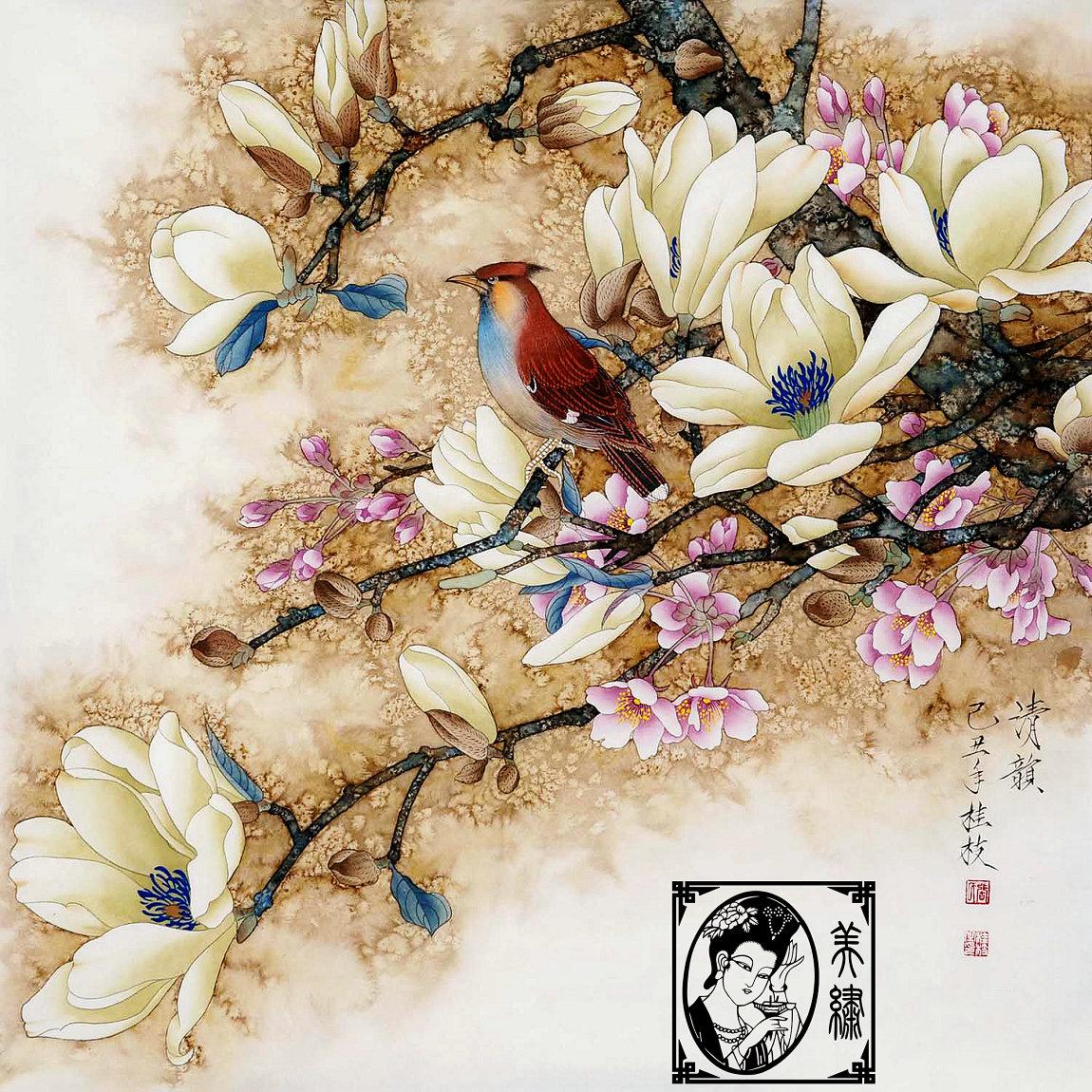 Вышивка бутик красоты DIY начинающих Бесплатные базовые вышивки, Сучжоу Вышивка Вышивка люкс Магнолия птица