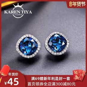925银针水晶耳钉女气质韩国简约时尚个性百搭蓝色耳环耳坠耳饰