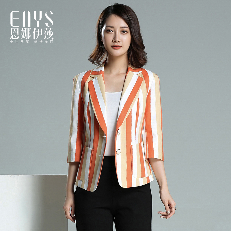 Ennaisa autumn 2017 new slim fit 9 / 4 sleeve suit collar single breasted striped cotton Blazer womens Blazer