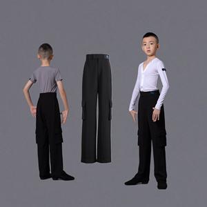 男童拉丁舞口袋裤比赛服长裤 少儿男孩演出拉丁裤子标准服阔腿裤