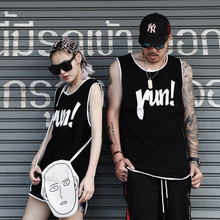 Japanese hip-hop sweat vest sport leisure Damascus Guochao brand male couples dress fat and increase canteen running