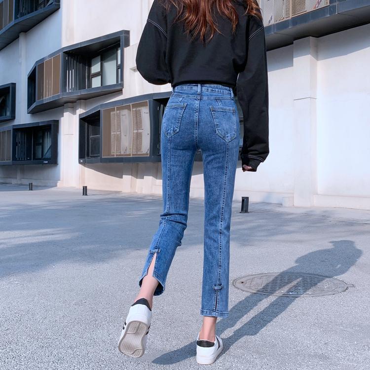 實拍視頻 彈力開叉牛仔褲女士春季高腰百搭顯瘦直筒褲寬松鉛筆褲