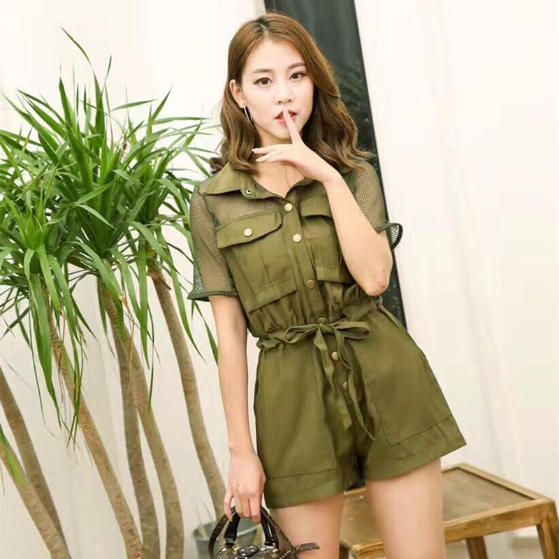 Summer new Jumpsuit womens loose high waist lace up Tencel mesh casual shorts new one-piece hot pants show thin