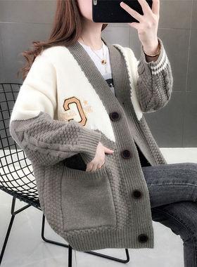 2021年新款女装早春季韩版宽松网红针织开衫女春秋慵懒风毛衣外套