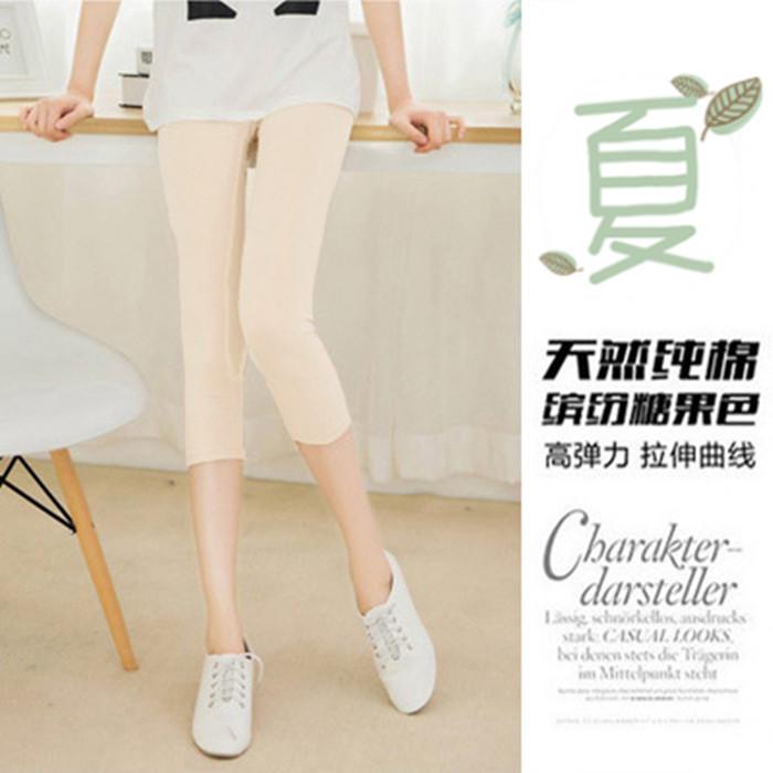 Summer new womens 7-point flesh Leggings pure cotton elastic high waist large size medium pants light proof thin pants