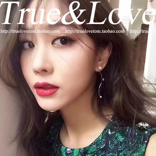 Korean jewelry 925 Sterling Silver Earrings soft radian slender temperament zircon crystal pearl front and rear Earrings
