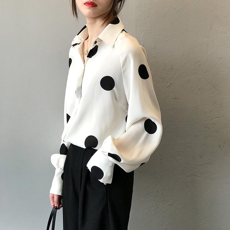(用120元券)女设计感小众秋装2019新款波点衬衫
