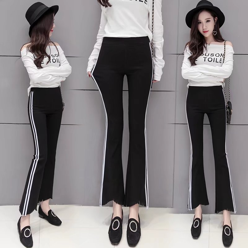 Micro flared pants womens Capris summer Korea show thin students elastic thin white edge 2017 new sports casual pants