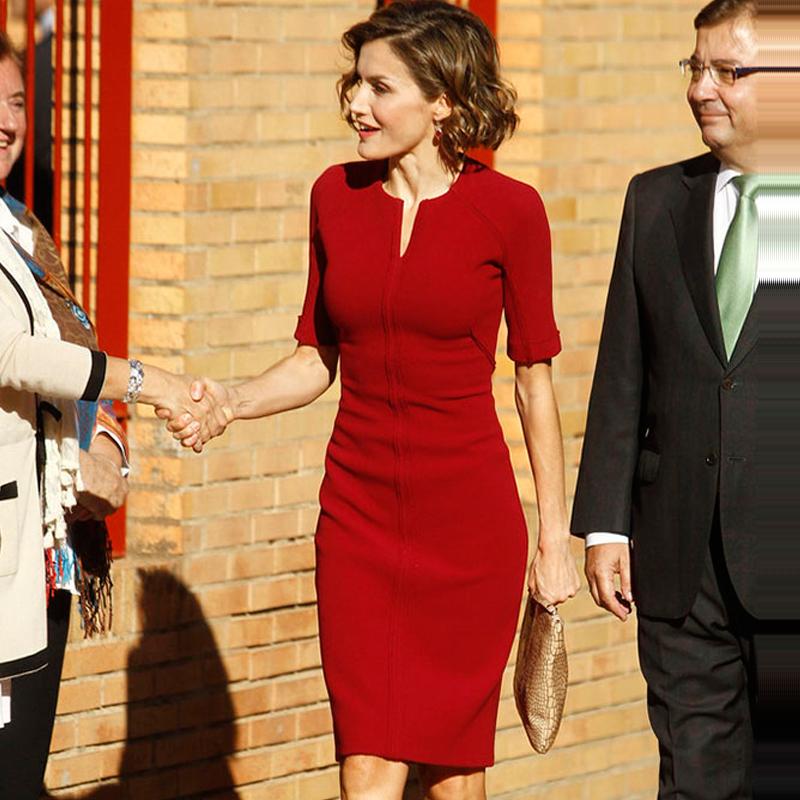 欧美2021夏季明星凯特王妃同款职业女装红色修身时尚收腰连衣裙女