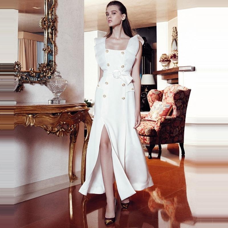 欧美新款2018年春夏明星走秀款女装白色时尚修身长裙双排扣连衣裙