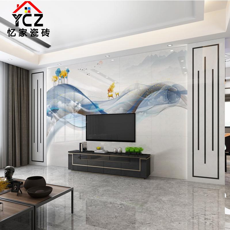 北欧瓷砖背景墙轻奢抽象禅意发财鹿意境客厅电视背景墙微晶石装饰