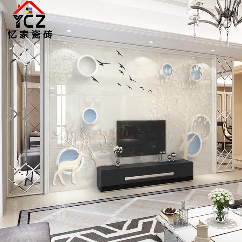 瓷砖背景墙8d微晶石电视背景墙客厅大气3d现代简约影视墙装饰定制