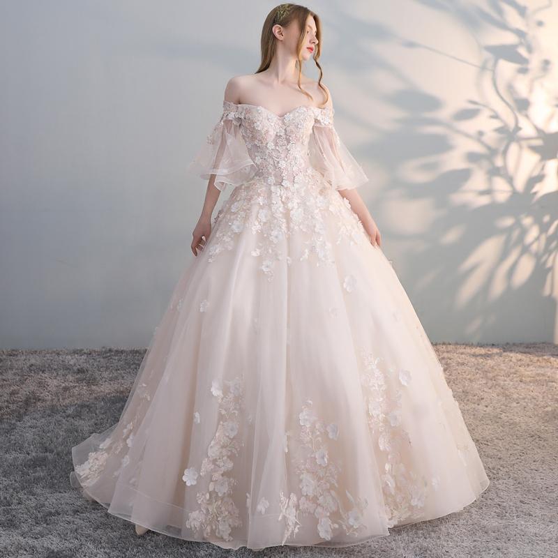 抖音同款一字肩婚纱礼服2018新款新娘拖尾轻森系梦幻公主超仙显瘦