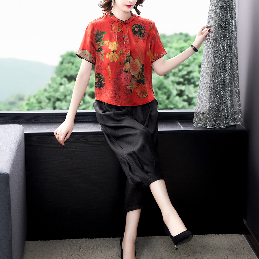 Xiangyun silk two piece set heavy fashion top-grade foreign style virtuous and elegant wenlirouqing suit
