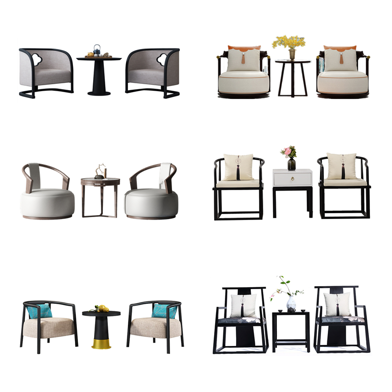 New Chinese circle chair discussion chair leisure modern light luxury solid wood single sofa balcony bedroom designer furniture