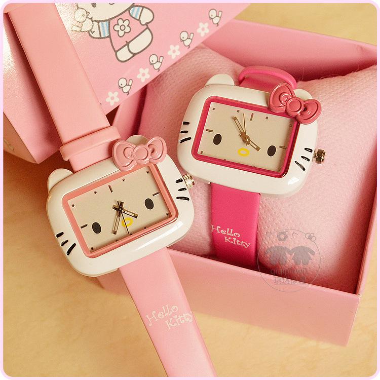 韓版可愛KT貓時尚女腕表hello kitty卡通兒童手錶果凍色女孩手錶