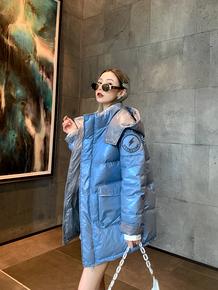 2021冬季新款韩版糖果色羽绒棉服中长款ins风宽松减龄女面包服潮