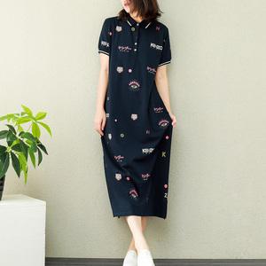 棉麻素衣高端大码女装夏新款趣味眼睛图案POLO领显瘦T恤连衣裙