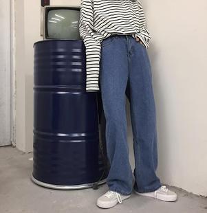 四季款韓版ins超火的復古水洗百搭闊腿老爹牛仔褲寬鬆ulzzang男女