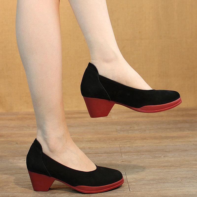 真皮职业中跟鞋红底粗跟浅口船鞋女优雅文艺女鞋气质女单鞋通勤鞋
