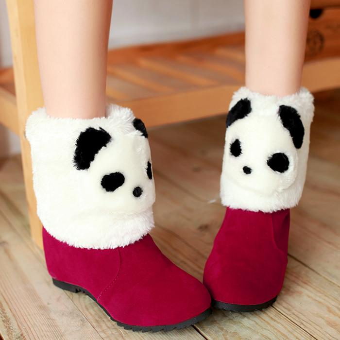 Осень/зима 2014 сезон новые сапоги увеличение панд в первый мультфильм короткие ботинки ботинки женщин снега сапоги теплые меховые сапоги
