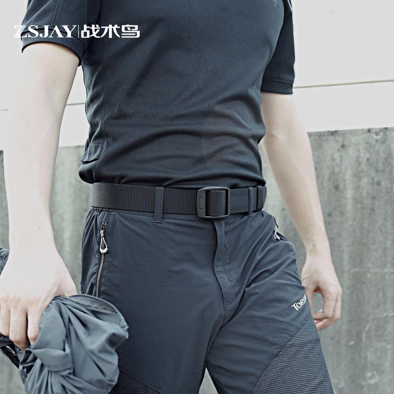 战术鸟(高端)户外尼龙腰带运动休闲皮带男帆布编织布料夏季裤带
