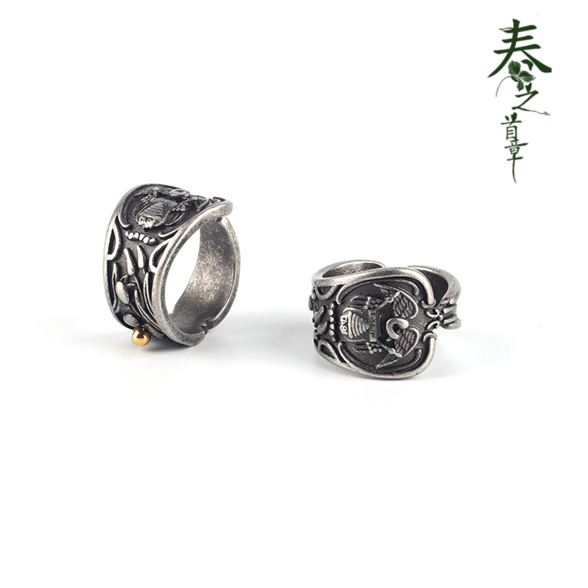 The first chapter of spring: retro style coin ring, American couple, xiaozhongchao brand, creative design, ring jewelry, hip hop