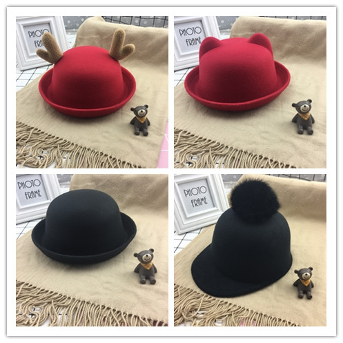 Autumn and winter woollen hat childrens Korean casual gift hat boy fisherman dome childrens ball basin hat performance trend