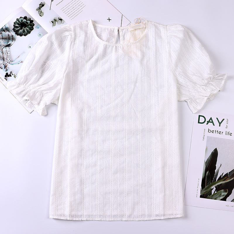 2020 summer bubble sleeve top round neck short sleeve French stripe thin shirt womens design feeling small lace