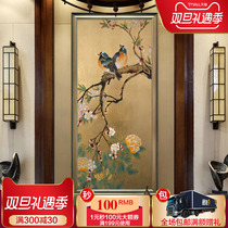 Xuan Guan decorative painting hand-painted oil painting chinese neoclassical flower and bird hanging staircase aisle Vertical edition restaurant plant mural