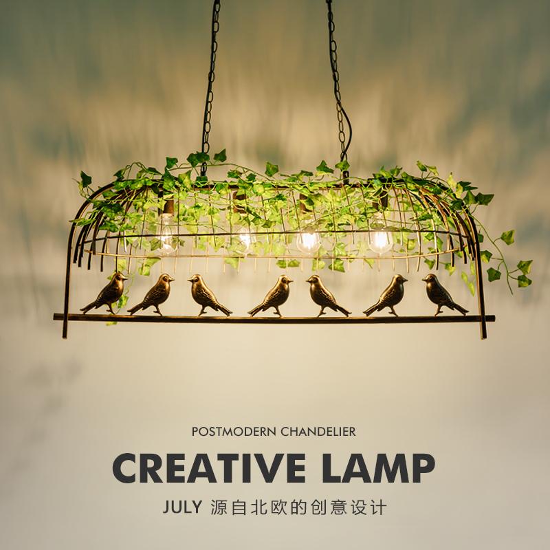 工业风植物吊灯铁艺鸟笼灯具创意个性复古酒吧灯餐厅服装店装饰灯