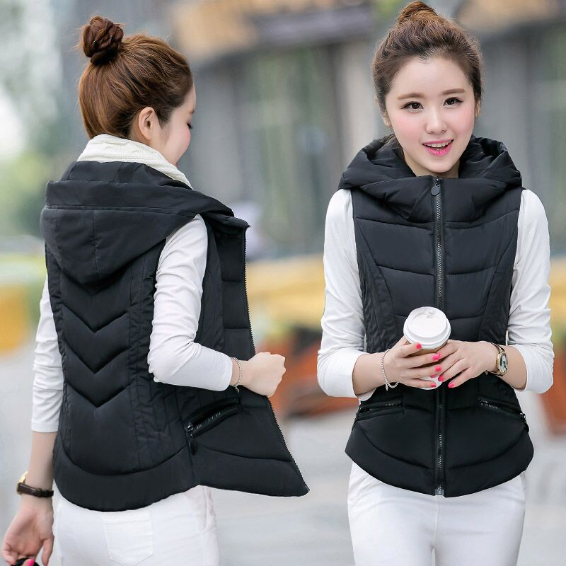 Autumn and winter down cotton short vest womens coat Korean version slim fitting cotton vest womens padded jacket vest