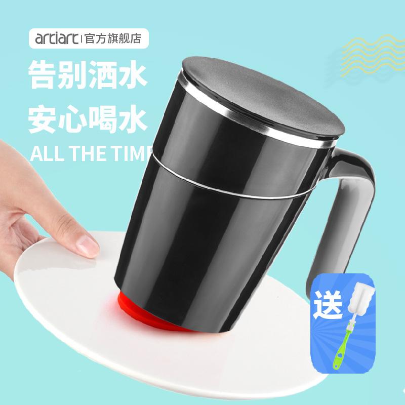 限时秒杀台湾Artiart创意不倒杯带盖不锈钢马克杯大码号办公室水杯