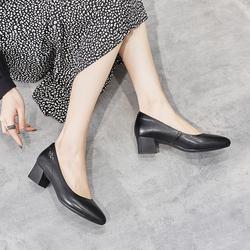 梦特娇女鞋头层牛皮2021年春夏新款百搭浅口粗跟显高职业妈妈鞋
