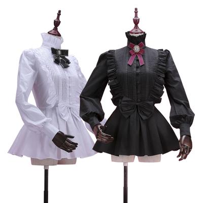 【Lace Garden】原创品牌vintage宫廷风琴褶灯笼袖立领黑白棉衬衫