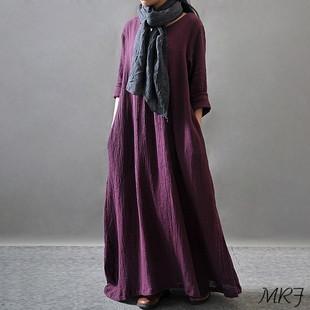 2019春季棉女装大码宽松简约新款文艺复古长袖棉连衣裙长袍子