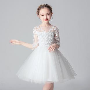 兒童婚紗裙子花童公主裙女童白色連衣裙寶寶蓬蓬裙中大童演出禮服